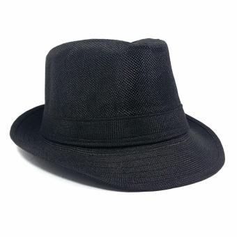Stylish Fedora Hat Fedora Cap Trilby Hat Sun Protection Cap LeatherFinish Unisex - 2