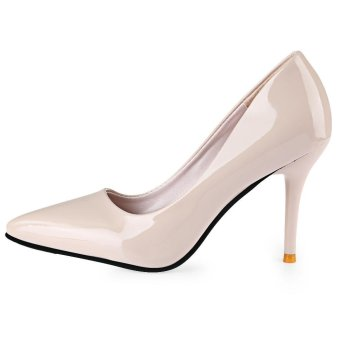 Stylish Pointed Toe Ladies Thin High Heel Shoes(Off-White)(Size:39)- intl - 4