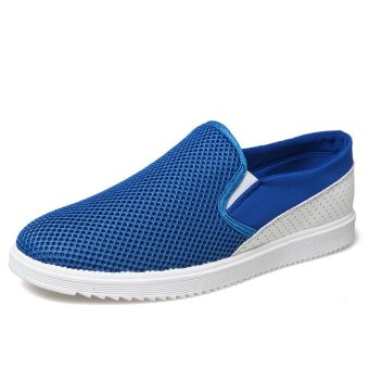 Stylish Stitching Breathable Casual Shoes Tennis Shoes (Blue) (Intl)