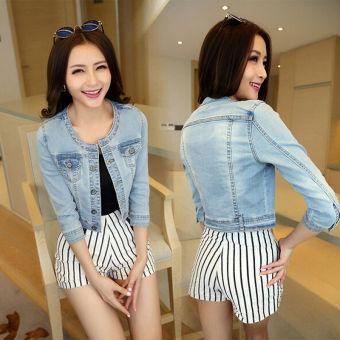 Stylish Women's 3/4 Sleeve Outerwear Short Denim Jacket - intl - 2