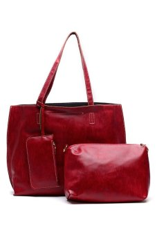 Sugar Alice Tote with Sling Bag and Wristlet (Red)