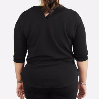 Sugar & Lime Cybele Women's Casual Fashion 3/4 Sleeves Blouse Top Plus Size (Black) - 3