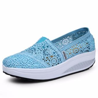 Summer Breathable Lace Casual Wedge Shoes Fashion High QualityPlatform Women Shoes (Light Blue) - intl