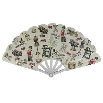 Summer Collection Foldable Hand Fan-Vintage (white)