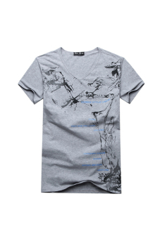 Summer Cotton V-Neck T-shirt (Grey) - picture 2
