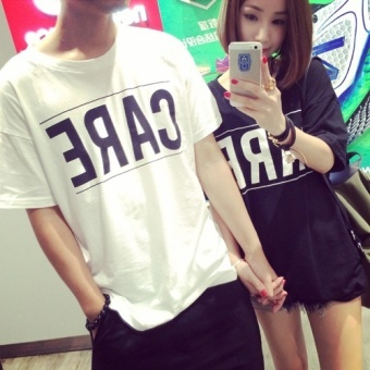 Summer Fashion New Simple Loose All-Match Leisure Couples Dress Black Color T-shirt Short Sleeved - Intl - 2