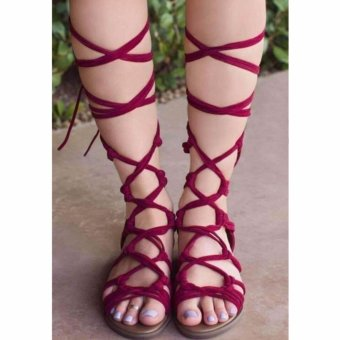 Summer Fashion Women Leg Wrap Lace up Gladiator Sandals(Red) - intl