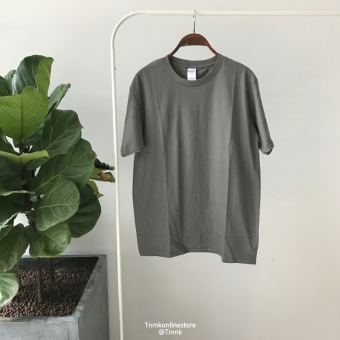Summer men's solid color short sleeved t-shirt (Charcoal color)