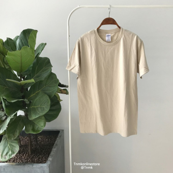 Summer men's solid color short sleeved t-shirt (Sand Color)