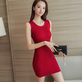 Summer mid-length sleeveless sweater sexy tight skirt sheath dress (Wine red color) (Wine red color)