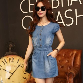 Summer new Women Korean Slim thin section washed denimshort-sleeved dress elastic waist