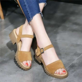 Summer semi-high heeled flat A-line sandals (Light gray color)
