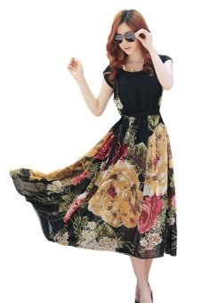 Summer Short Sleeve Chiffon Maxi Dress (Multicolor)