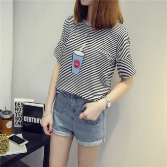 Summer short sleeve striped women printed t-shirt - intl - 2