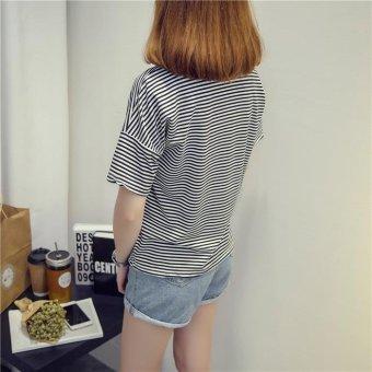 Summer short sleeve striped women printed t-shirt - intl - 5