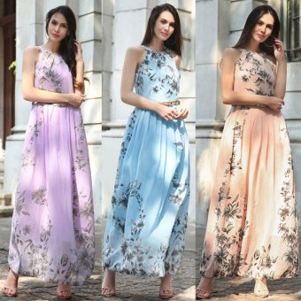 Summer Style Women New Fashion Long Maxi Dress O Neck Floral Print Sleeveless Evening Party Elegant Casual Party Dresses With Belt Blue - intl - 2