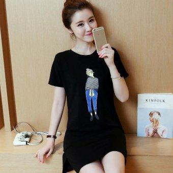 Summer women print casual short sleeve mini dress - intl - 5