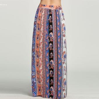 Summer Women Print Side Slit Casual Beach Maxi Long Skirt(Multicolor) - 4