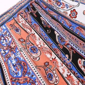 Summer Women Print Side Slit Casual Beach Maxi Long Skirt(Multicolor) - 5