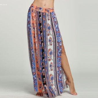 Summer Women Print Side Slit Casual Beach Maxi Long Skirt(Multicolor) - 2