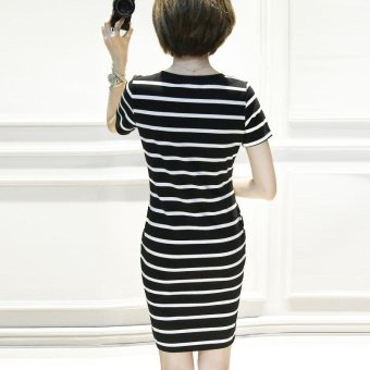 Summer women stripe casual short sleeve mini dress - intl - 3