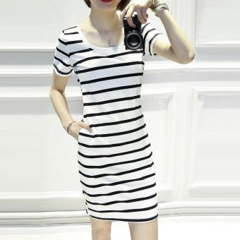 Summer women stripe casual short sleeve mini dress - intl - 2