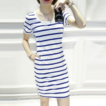 Summer women stripe casual short sleeve mini dress - intl - 4