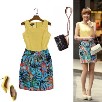 Summer yellow vest fake two-piece tropical rain Lin Print dress