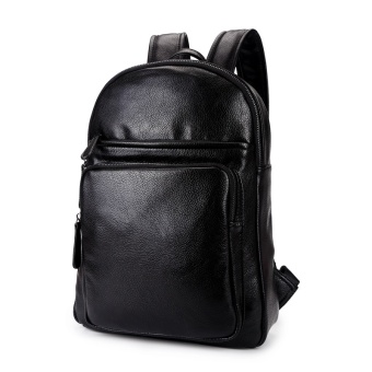 Sunking Brand New Hot Sale Leather Laptop Bags Student Leisure Men's Backpack Travel Bag Men Back Pack Sports Bag (Black) - intl