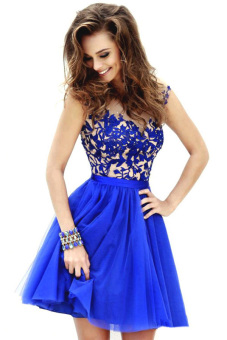 Sunweb Sexy Women Mesh Lace Splice Hollow Out Sleeveless High Waist Mini Party Dress Blue