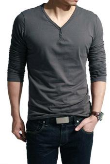 Sunweb V-Neck Men's Long Sleeve Casual T-Shirt Tops ( Dark Gray )