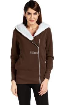 Sunweb Women Hoodie Jacket Coat Warm Outerwear Hooded Zip (Coffee) - picture 2