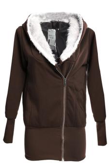 Sunweb Women Hoodie Jacket Coat Warm Outerwear Hooded Zip (Coffee)