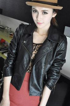 Sunweb Women Motorcycle Leather Jackets Short Outerwear Coat Black - 2