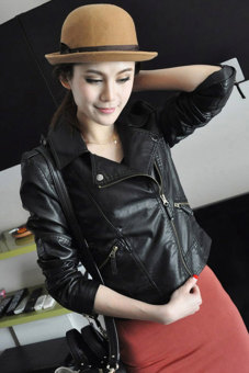 Sunweb Women Motorcycle Leather Jackets Short Outerwear Coat Black - 3