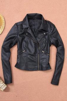 Sunweb Women Motorcycle Leather Jackets Short Outerwear Coat Black - 5