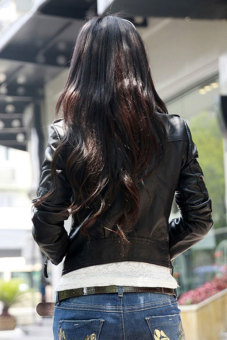 Sunweb Women Motorcycle Leather Jackets Short Outerwear Coat Black - 4