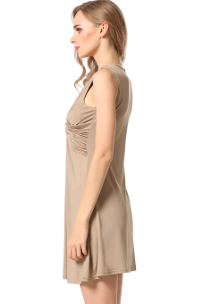 Sunweb Women Pleated Slim Mini Dress Casual (Brown) - picture 2