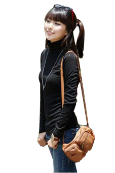 Sunweb Women Pullovers Turtleneck Long-sleeve Basic T-Shirts SolidBottoming Shirt Tops (Black) - 2