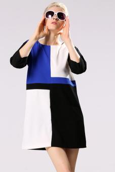 Sunweb Women's Casual O-neck 3/4 Sleeve Stitching Dress (Blue)