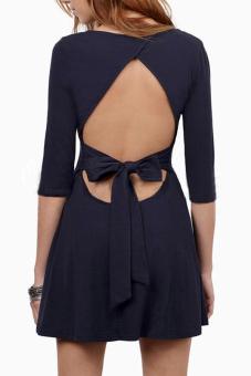 Sunweb Women's Half Sleeve O-Neck Backless A-line Dress - Intl - picture 2
