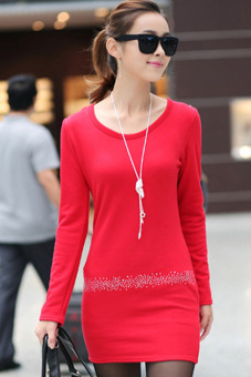 Sunweb Women's Long Sleeve Thick Cotton Bottoming Shirt Red