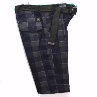 Super-11 Men's Four Pocket Cargo Checkered Short with Belt 798(Black) - 3