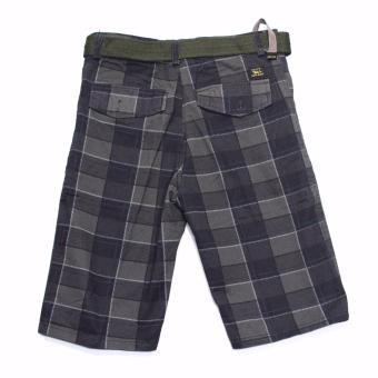 Super-11 Men's Four Pocket Cargo Checkered Short with Belt 798(Black) - 4