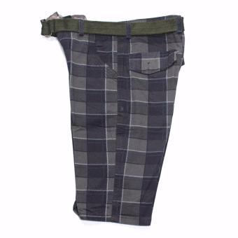 Super-11 Men's Four Pocket Cargo Checkered Short with Belt 798(Black) - 5
