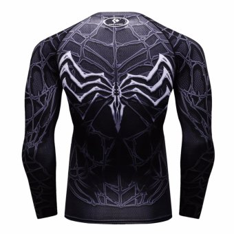 Superhero Spiderman Men Compression Long Shirt Top For SportFashion Evil BK - intl - 3