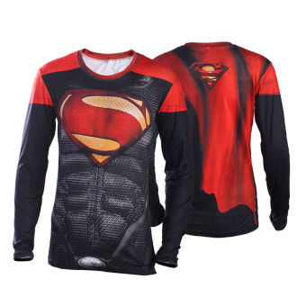 Superman Spider Man men T-shirt slim fit clothing (Red super man long-sleeved)