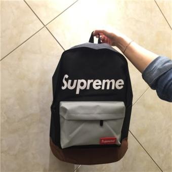 Supreme Harajuku Couple Bag European and American Tide Card DeadFly Retro Street Skateboard Street Students Backpack(Black) - intl - 3