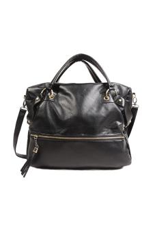 Synthetic Leather Shoulder Messenger Bag (Black) - picture 2