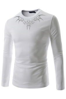 T38 Casual Shirts O-neck Long Sleeves (White)